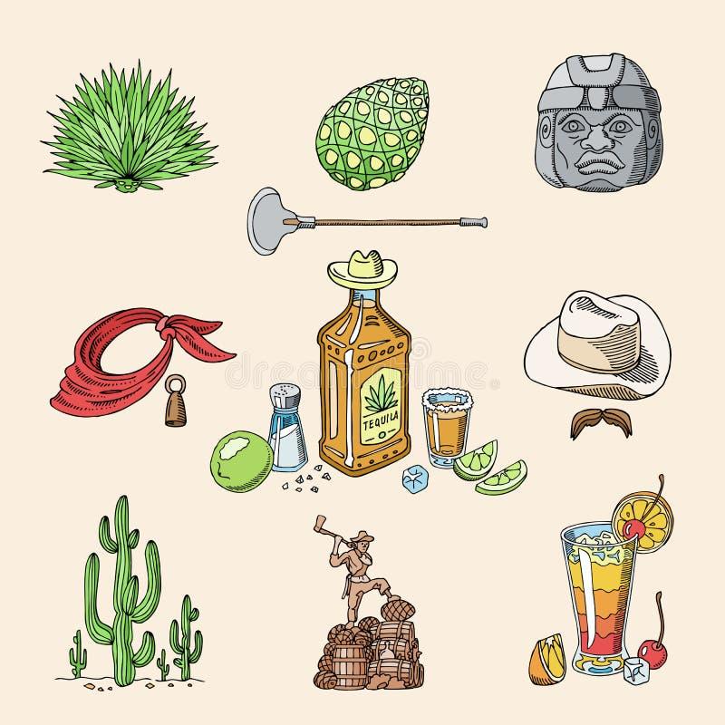 在瓶饮料的龙舌兰酒射击传染媒介墨西哥酒精与石灰和盐在taqueria在墨西哥例证套  向量例证