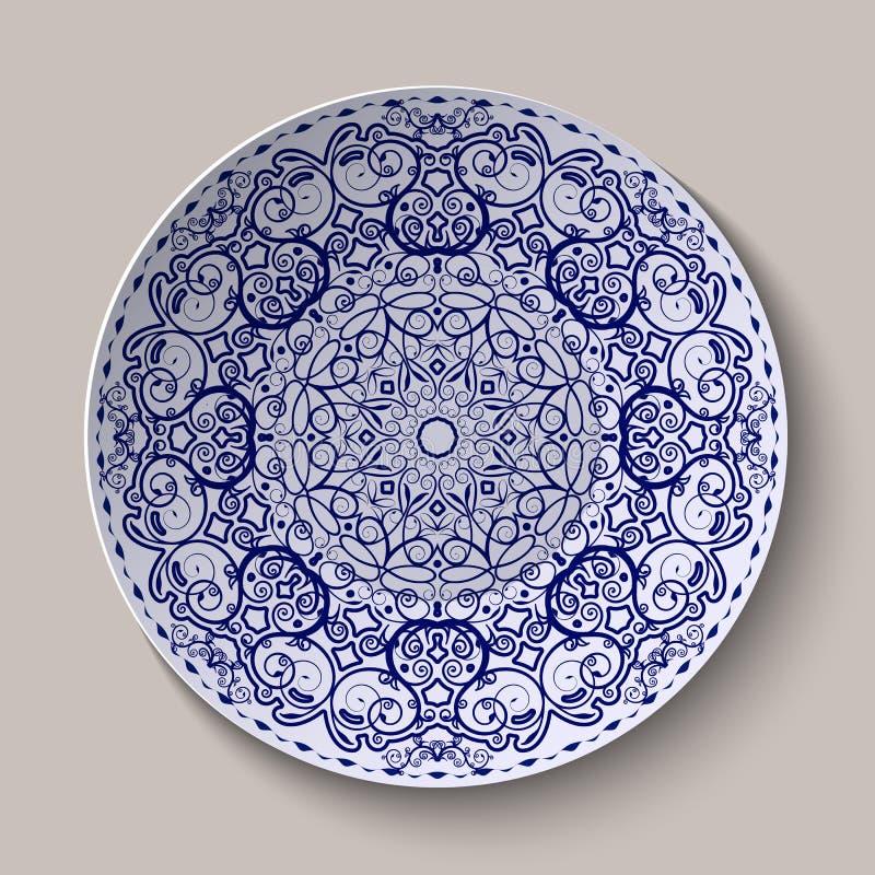 在瓷的圆的蓝色花饰中国式绘画 在陶瓷盛肉盘显示的样式 向量例证