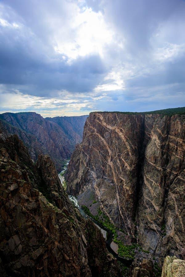 在甘尼逊黑峡谷国家公园的被绘的墙壁 库存图片