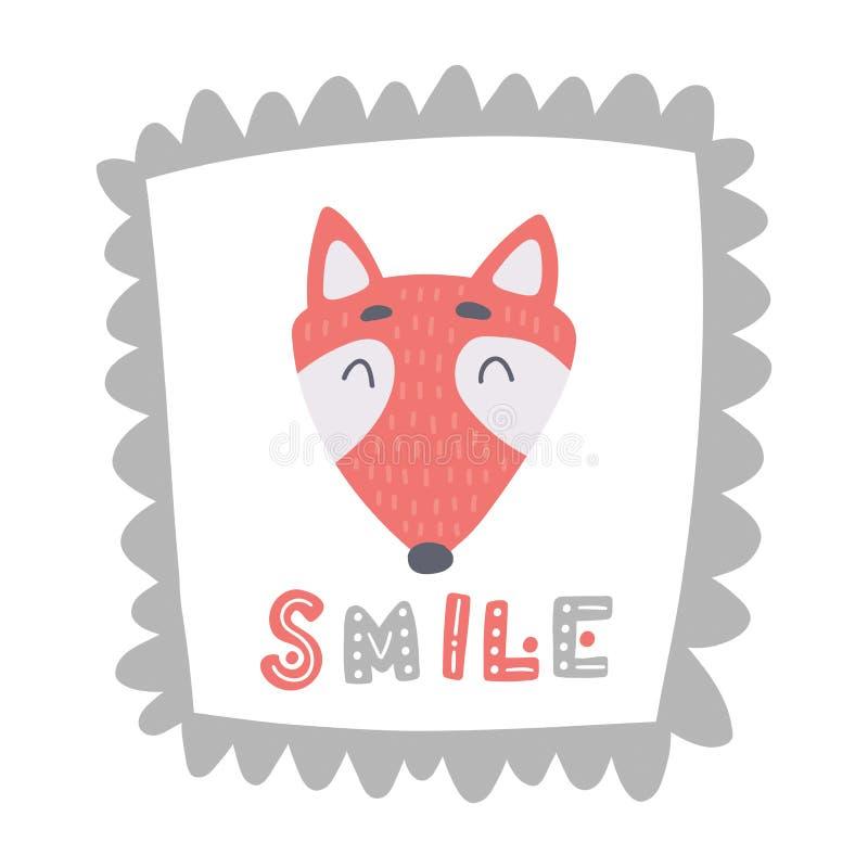 在甜框架的逗人喜爱的小的狐狸与手拉的字法微笑 向量例证