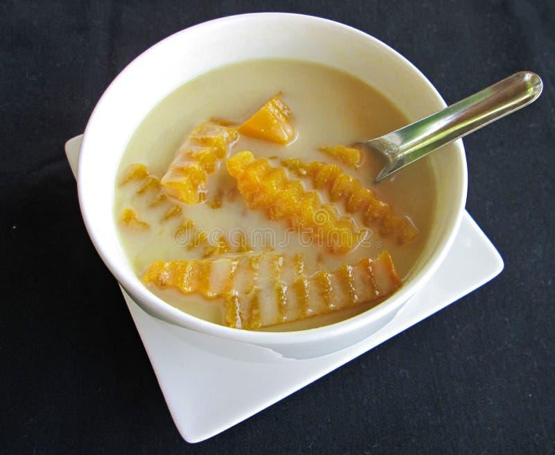 在甜椰奶Faktong帮会buad的南瓜 库存图片