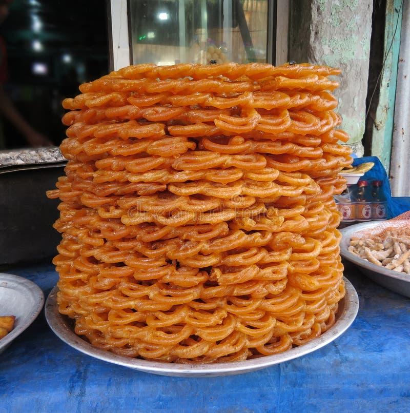 在甜点面包店的Jalebi在Barishal,孟加拉国 图库摄影