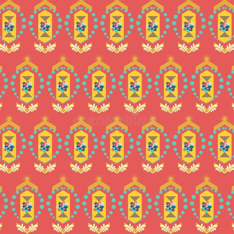 在生动红色的圣诞节装饰重复的样式和黄色 库存例证
