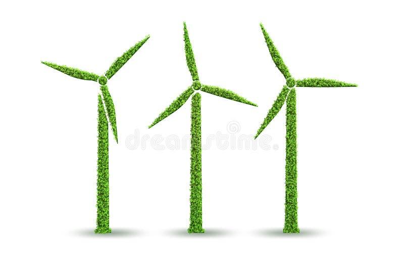 在生态发电和生产概念- 3d的风车翻译 库存例证