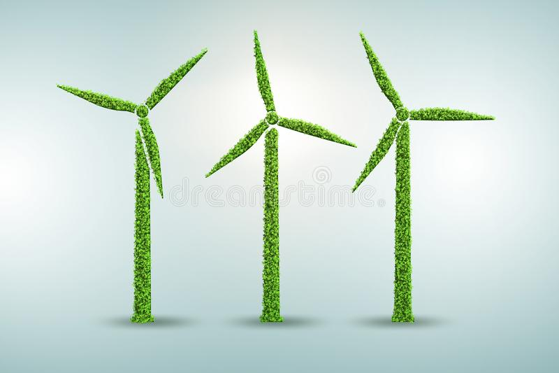 在生态发电和生产概念- 3d的风车翻译 皇族释放例证