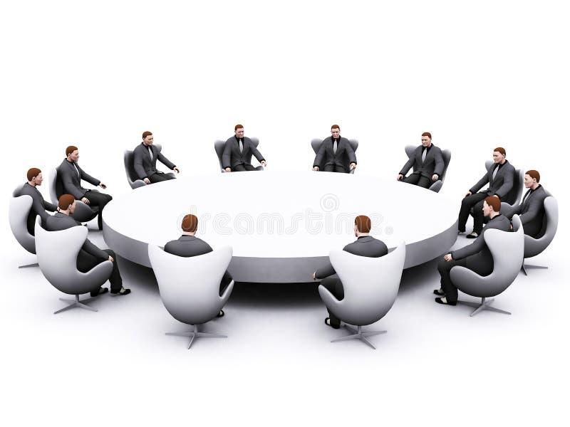 在生意人坐的表附近 免版税库存图片