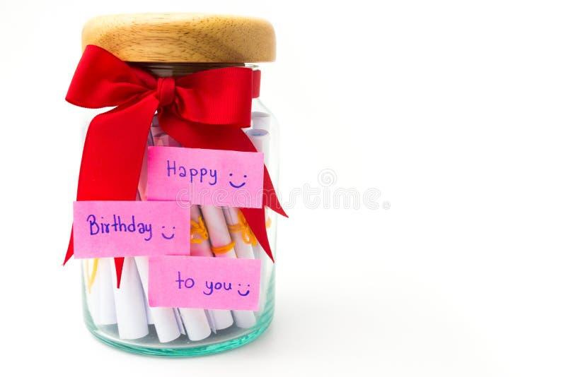 在生日孤立的手工制造礼物盒在白色背景 免版税图库摄影