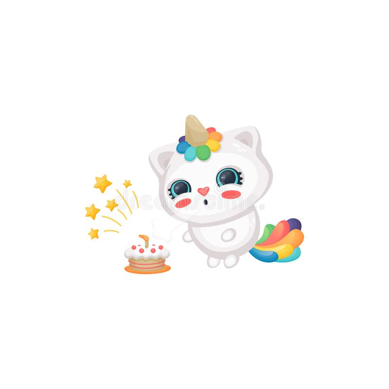 在生日蛋糕、逗人喜爱的愉快的白色小猫与彩虹垫铁和尾巴的动画片猫独角兽吹的蜡烛 向量例证