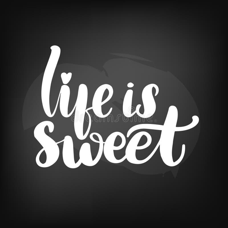 在生活上写字是甜的 向量例证