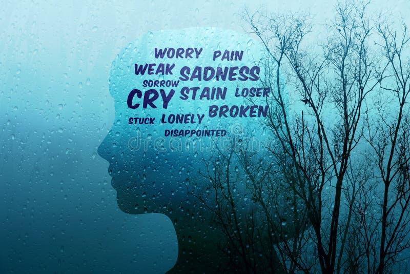 在生活概念的悲伤,当前由在形状o的沮丧的字词 皇族释放例证