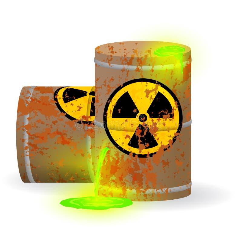 在生锈的桶的化工放射性废物 在小桶的毒性绿色萤光液体 环境污染危险  库存例证