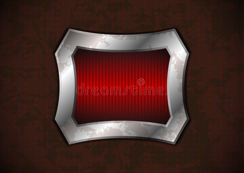 在生锈的表面的钢制框架 向量例证
