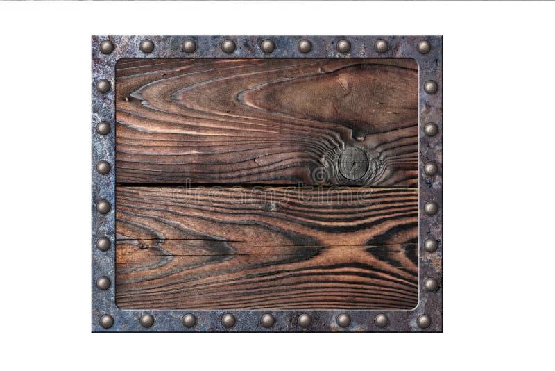 在生锈的金属框架的葡萄酒木牌在铆钉 免版税库存图片