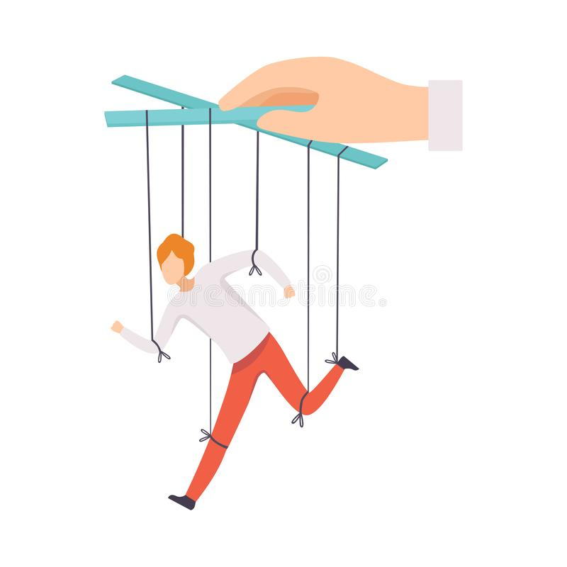 在用手受控制的绳索的男性牵线木偶,人概念,在上司影响下的跑的男性经理的操作 向量例证