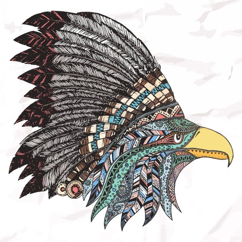 在用羽毛装饰的部族头饰的老鹰 向量例证