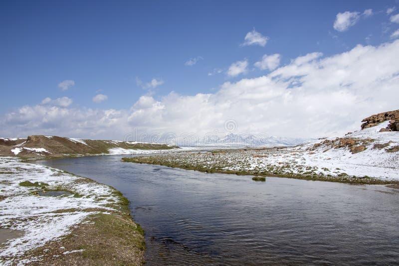 在用雪盖的牧场地之间的河 在天际是山脉 r 免版税库存照片