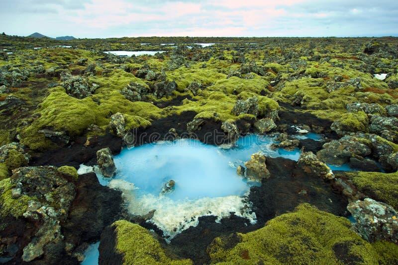 蓝色盐水湖在冰岛 库存照片