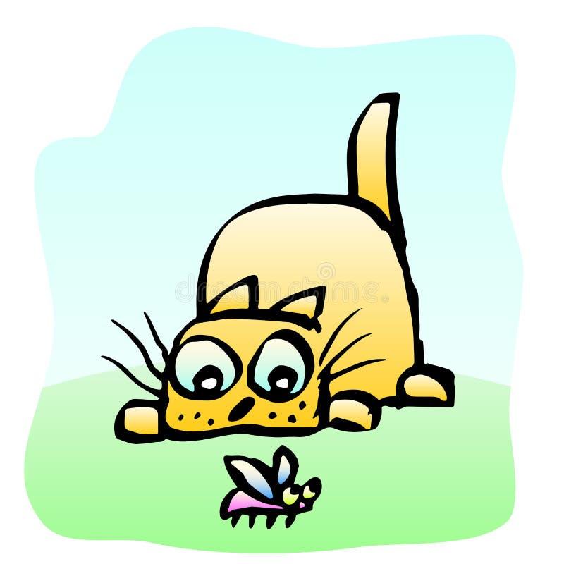 在甲虫的逗人喜爱的黄色猫牺牲者 也corel凹道例证向量 皇族释放例证