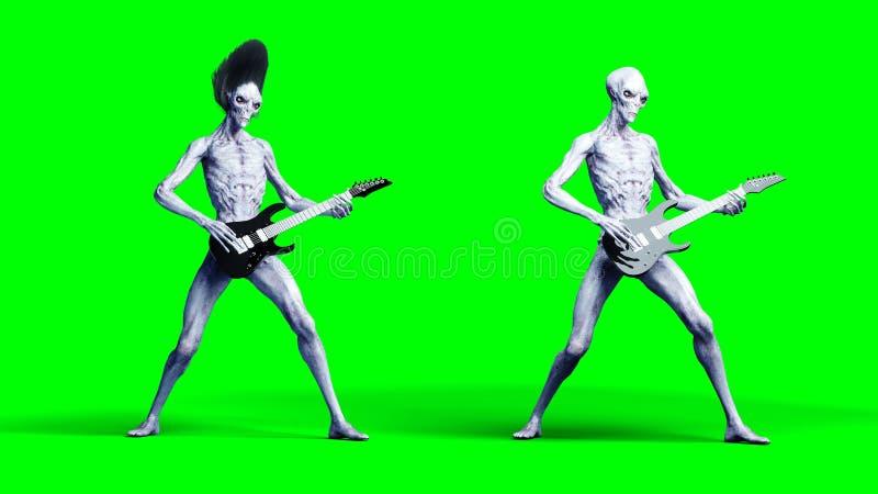 在电吉他的滑稽的外籍人戏剧 现实行动和皮肤shaders 3d翻译 皇族释放例证