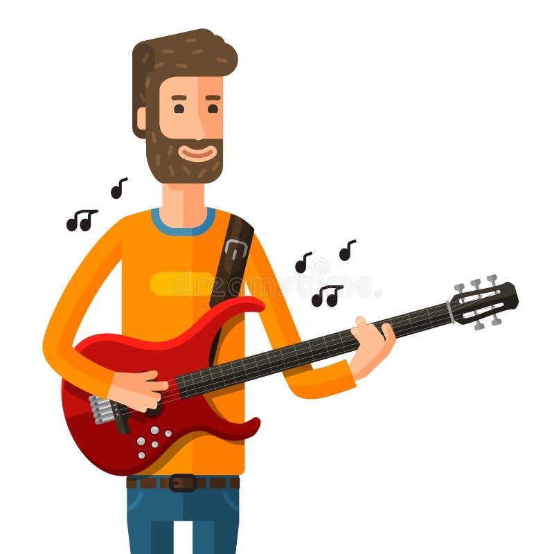 在电吉他的吉他弹奏者作用 也corel凹道例证向量 向量例证