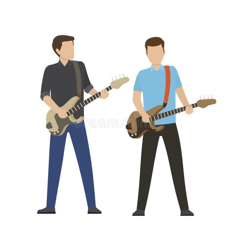 在电和低音吉他的男性角色戏剧 库存例证