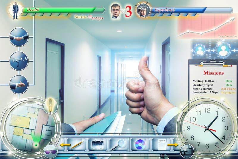 在电子游戏的商人 库存图片