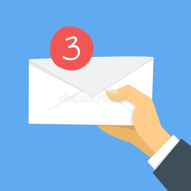 在电子邮件概念的收入消息 拿着信封的手 库存例证