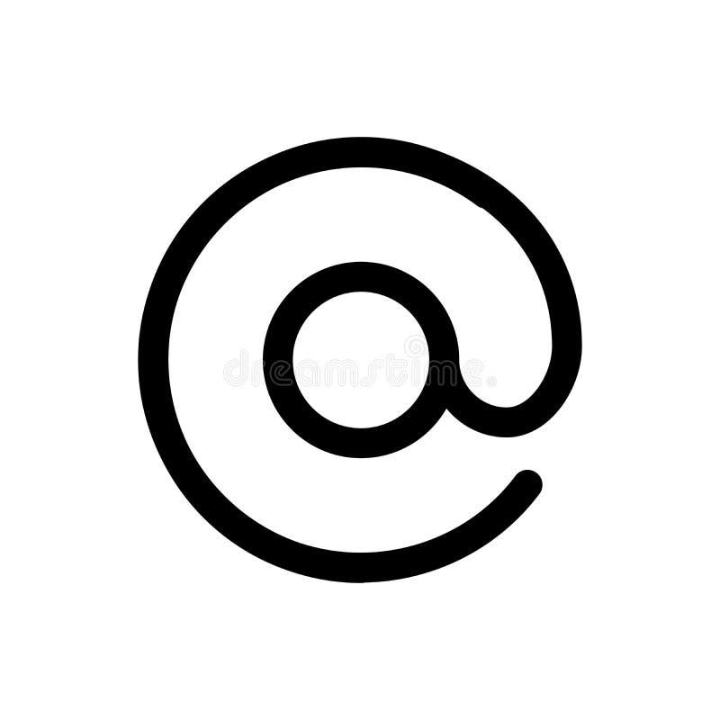 在电子邮件象 电子邮件通信的标志 概述现代设计元素 简单的黑平的传染媒介标志 向量例证