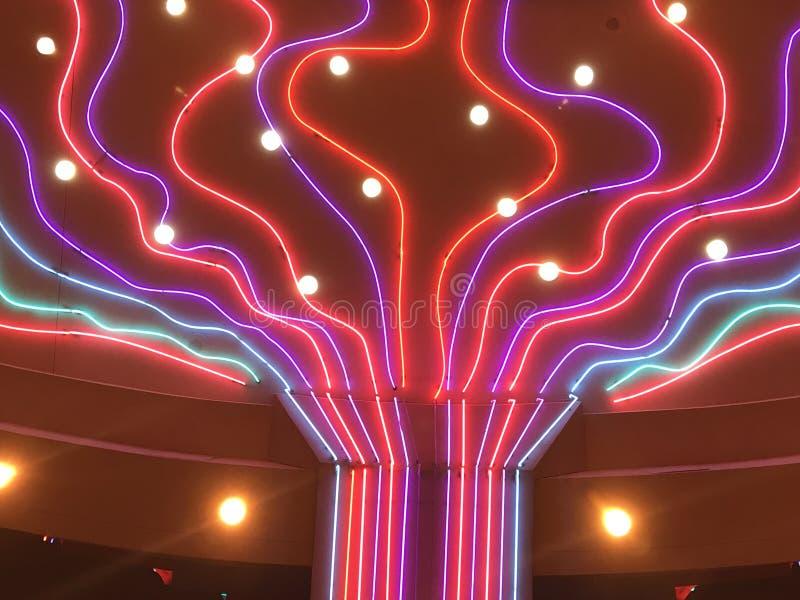 在电影院的五颜六色的光 图库摄影