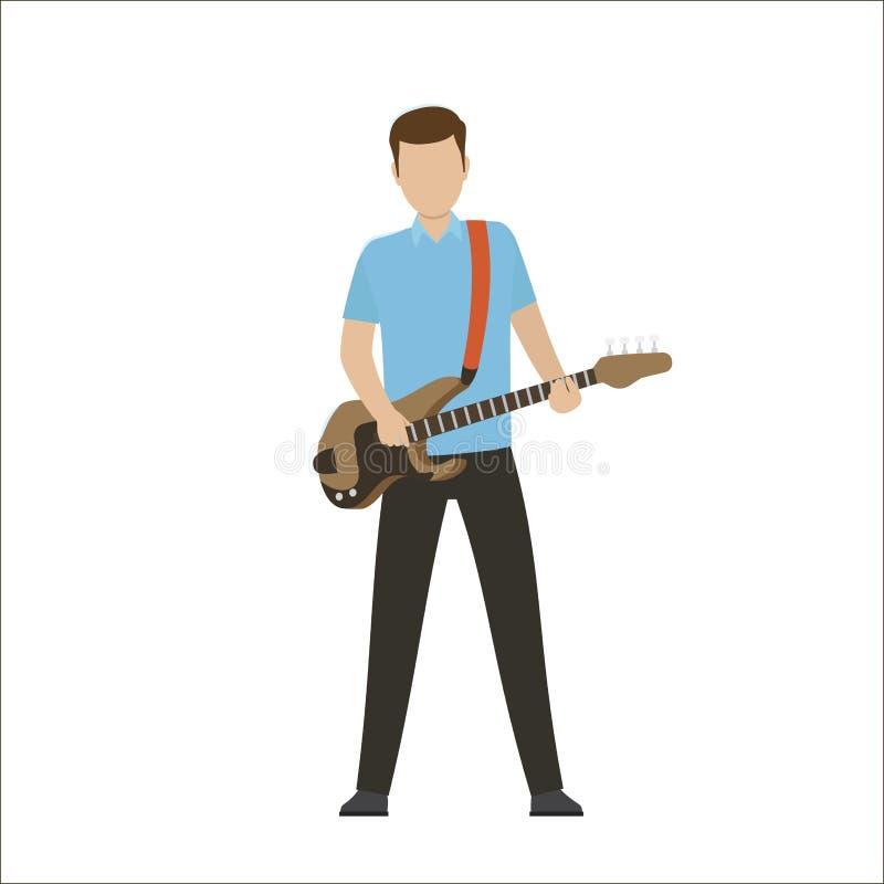 在电或低音吉他的男性角色戏剧 皇族释放例证