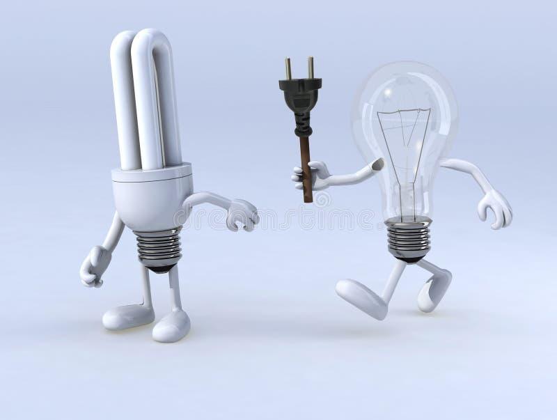 在电灯泡和cfl电灯泡之间的中转 向量例证