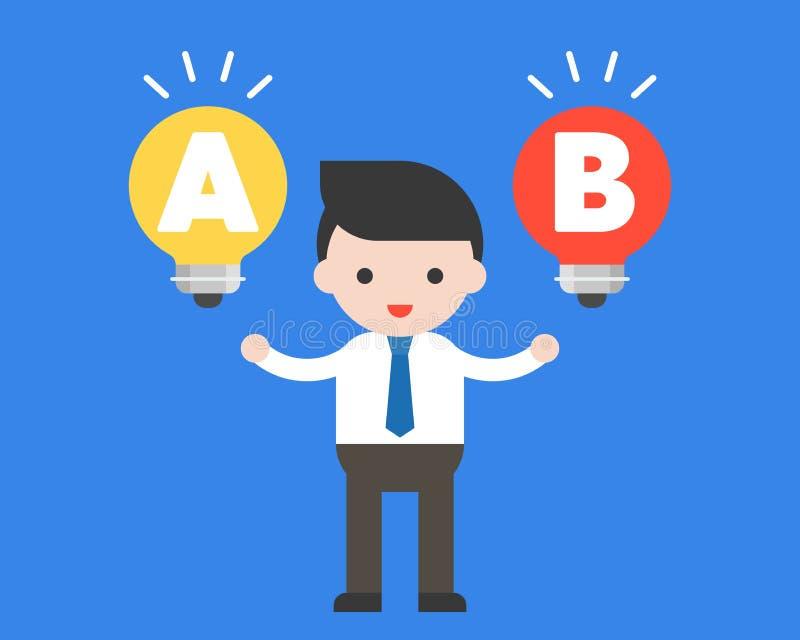 在电灯泡想法, choic的政策制定之间的商人立场 库存例证