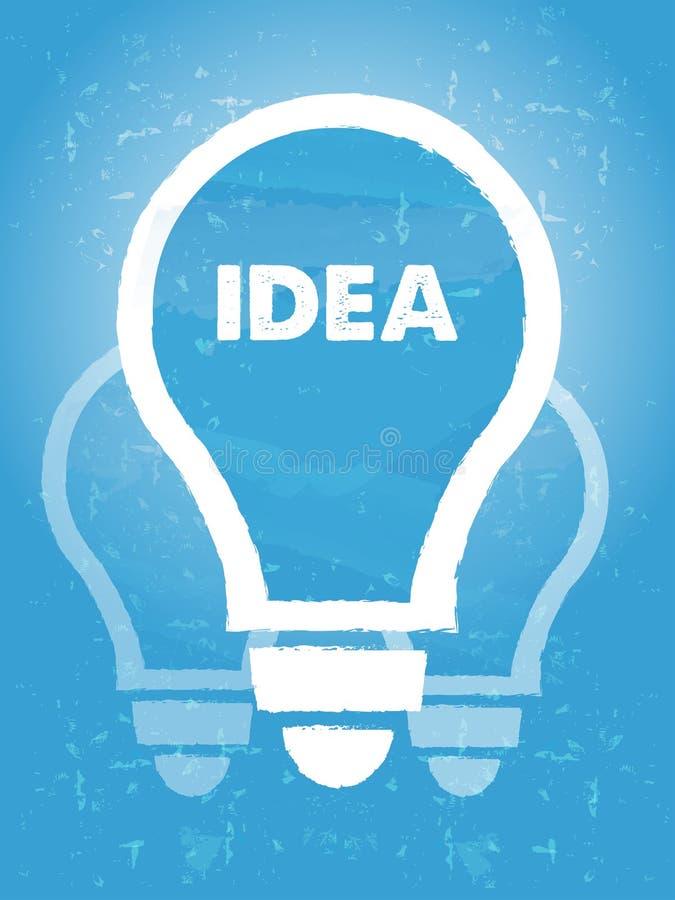 在电灯泡标志的想法有结束蓝色难看的东西背景 向量例证