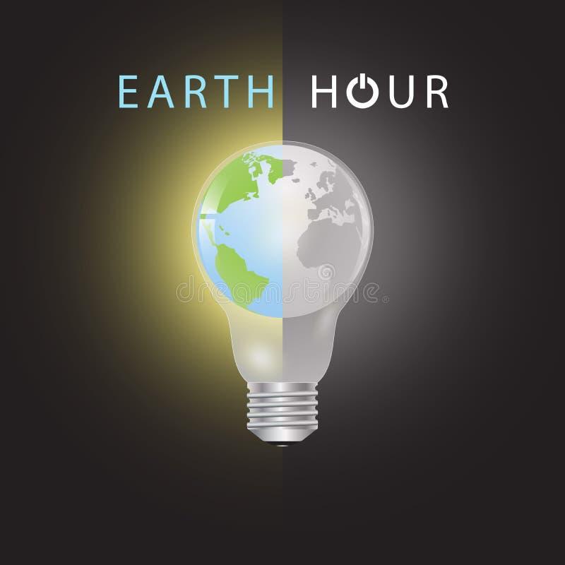 在电灯泡的地球有二分之一的在颜色在黑白的另一个一半,地球小时环境概念 库存例证