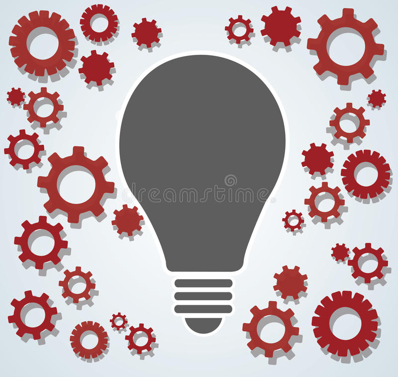 在电灯泡的齿轮塑造,认为的抽象齿轮概念 皇族释放例证