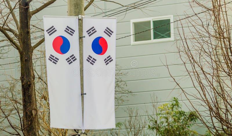 在电线杆的两面韩国旗子 库存照片
