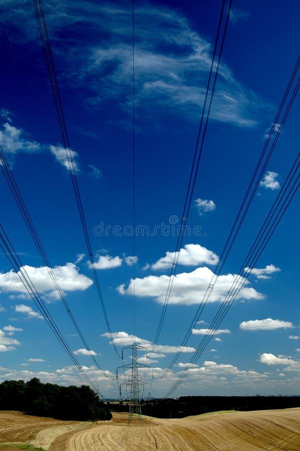 在电缆天空间 免版税库存图片