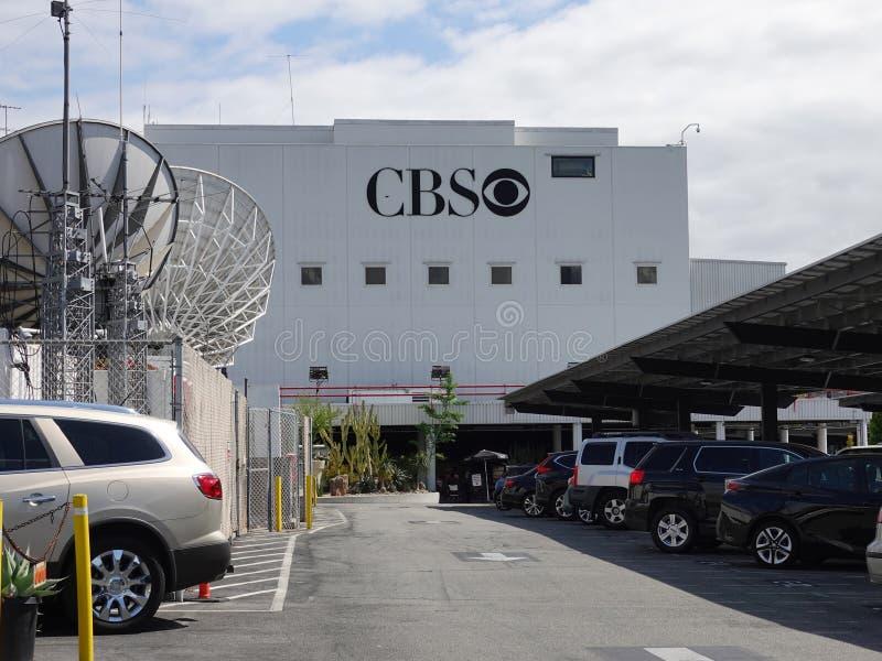在电视城市的CBS TV公司眼睛商标在洛杉矶 免版税库存图片