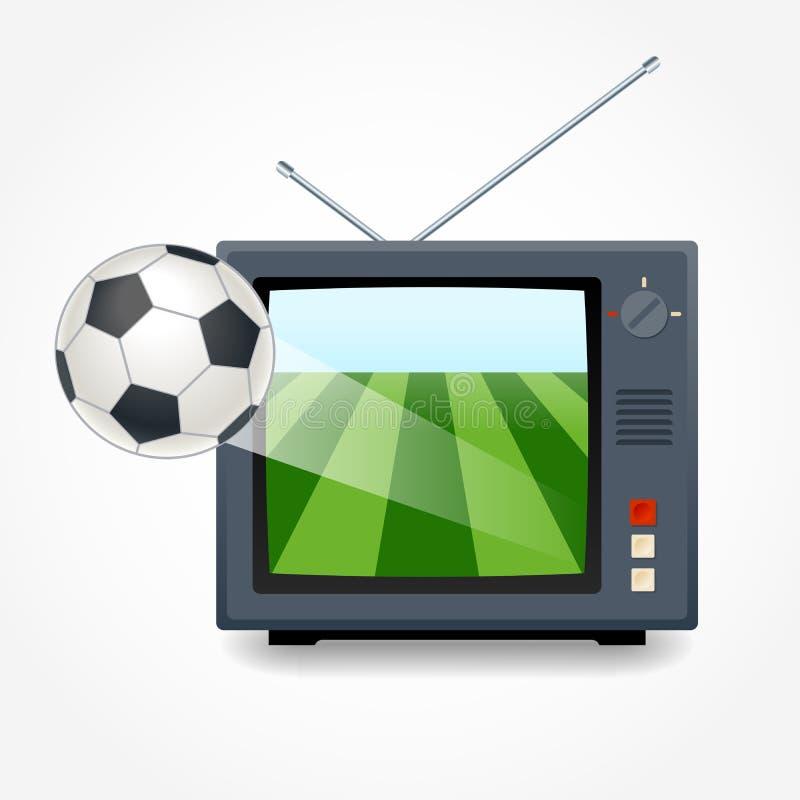 在电视的足球 库存例证