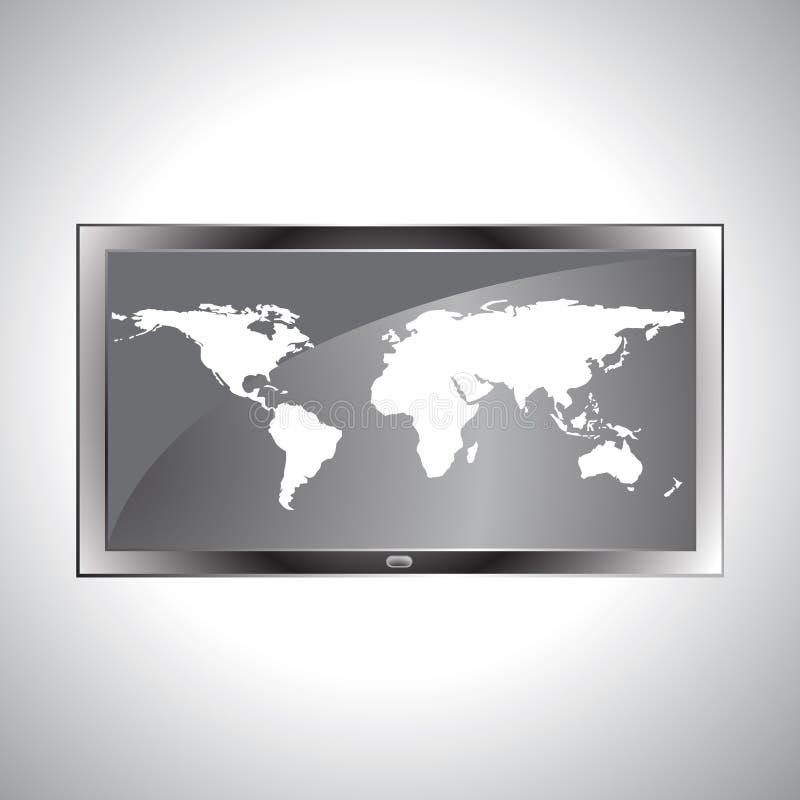 在电视LCD传染媒介的世界地图 库存例证