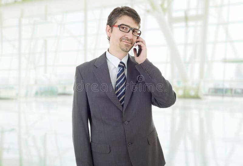 在电话上 免版税库存图片