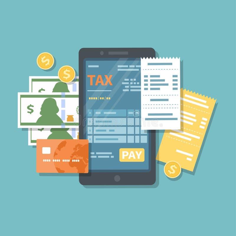 在电话屏幕上的报税表有薪水按钮的 网上税流动付款通过智能手机 银行信用卡编码概念递藏品互联网 电话,检查 向量例证