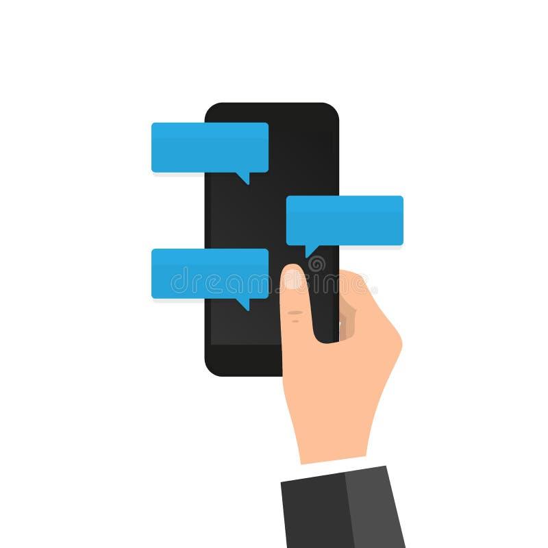 在电话平的设计消息泡影的新的闲谈消息通知在屏幕,聊天在机动性的人上 人的具体化 皇族释放例证