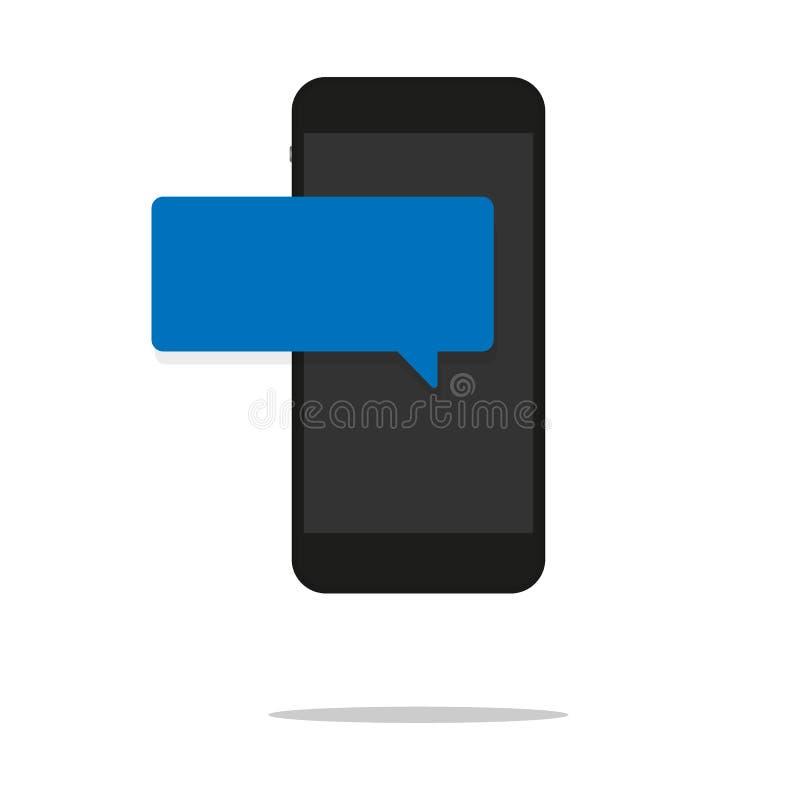 在电话平的设计消息泡影的新的闲谈消息通知在屏幕,聊天在机动性的人上 人的具体化 向量例证