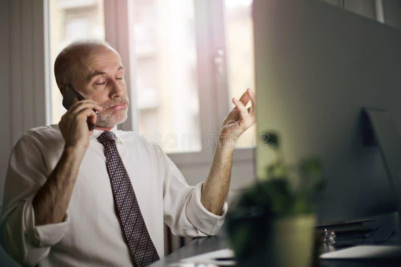 在电话的生意人 免版税库存图片