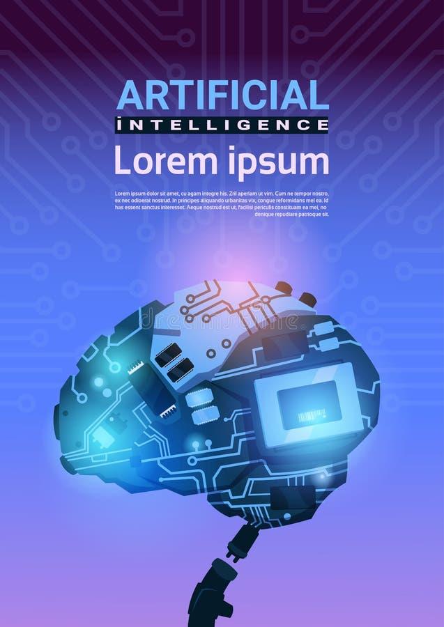 在电路主板背景垂直的横幅的现代靠机械装置维持生命的人脑子机制与人为拷贝的空间 库存例证