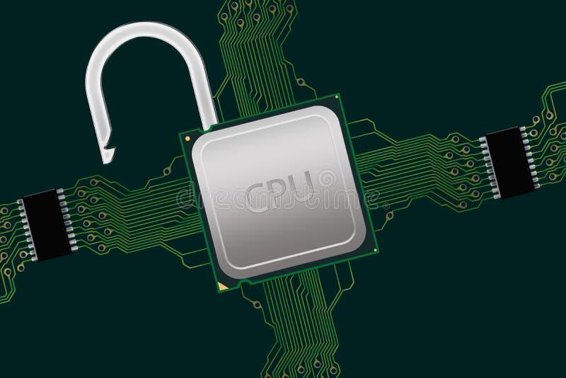 在电路内的开锁的CPU 图库摄影