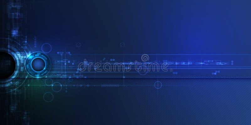 在电路板、例证高计算机和通讯技术的传染媒介摘要未来派眼珠 向量例证