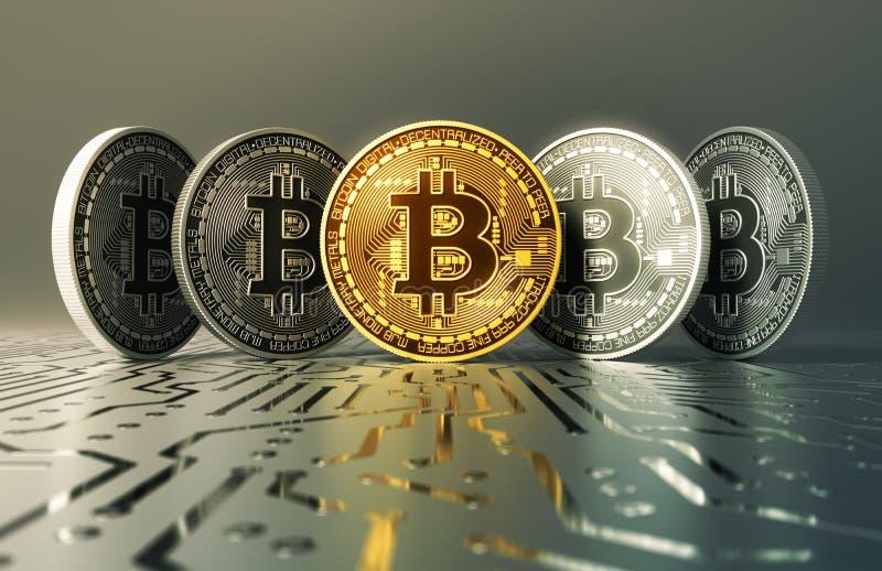 在电路板的金和银真正硬币Bitcoins 皇族释放例证