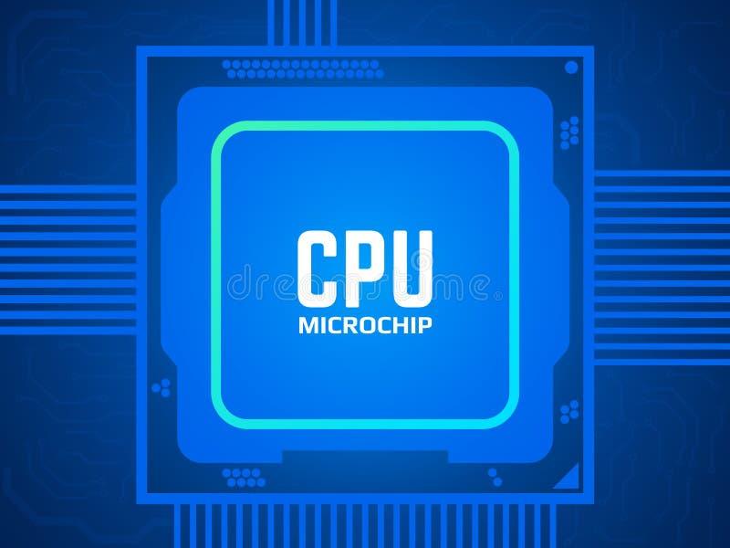 在电路板的Cpu芯片 蓝色微处理器和主板 抽象技术概念 处理器和明亮 向量例证